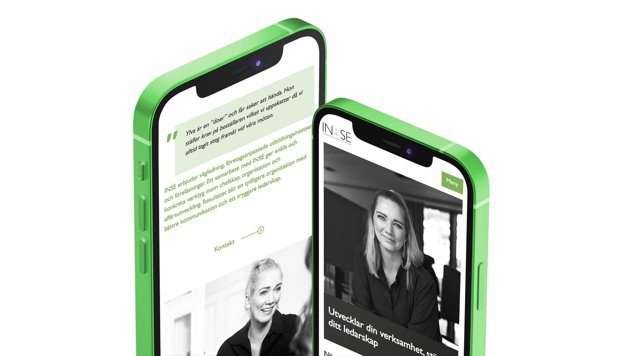 INSE mockup mobil hemsida